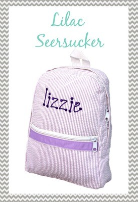 Small Lilac Seersucker Backpack