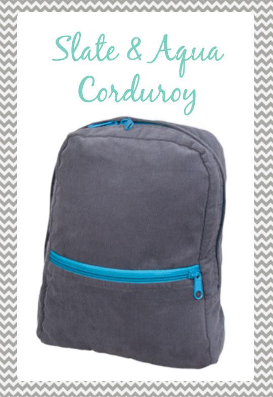 Small Slate & Aqua Corduroy Backpack
