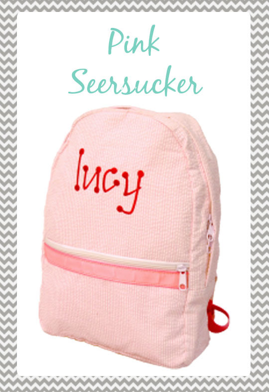 Small Pink Seersucker Backpack