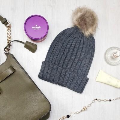Grey Faux Fur Pom Pom Hat