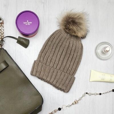 Beige Faux Fur Pom Pom Hat