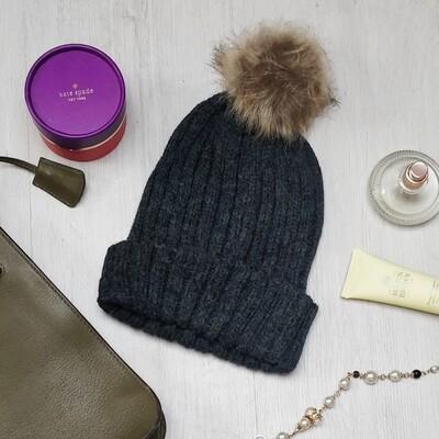 Charcoal Faux Fur Pom Pom Hat