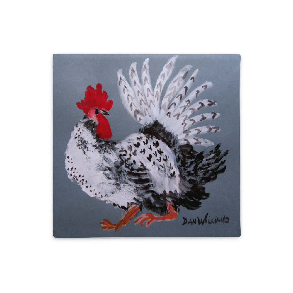 Rooster Pillow with Fantail Plumage