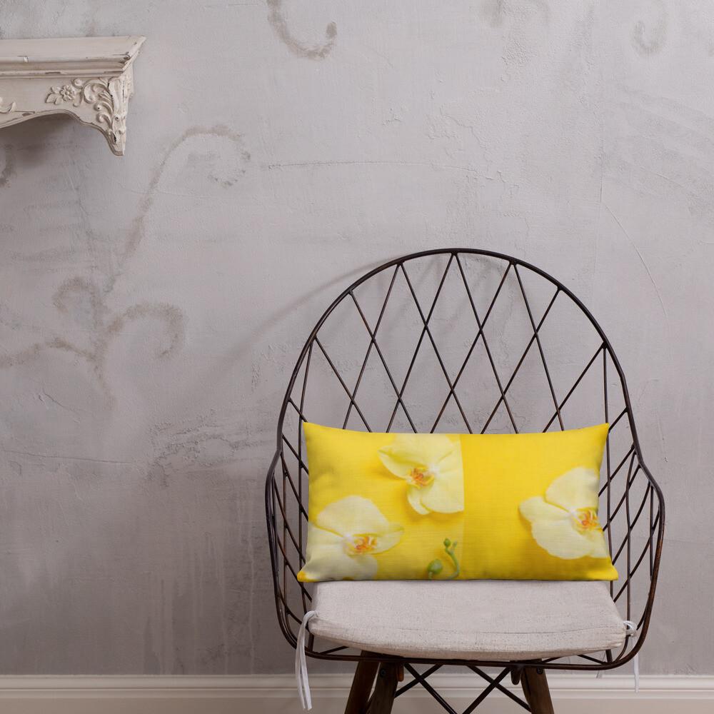 Yellow Orchid Premium Pillow