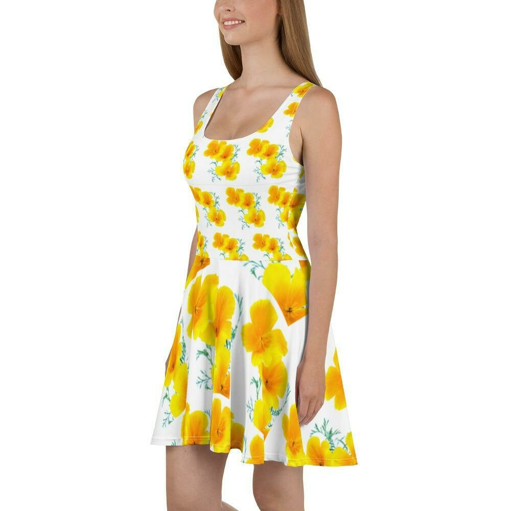Yellow Poppies of Portugal Skater Dress
