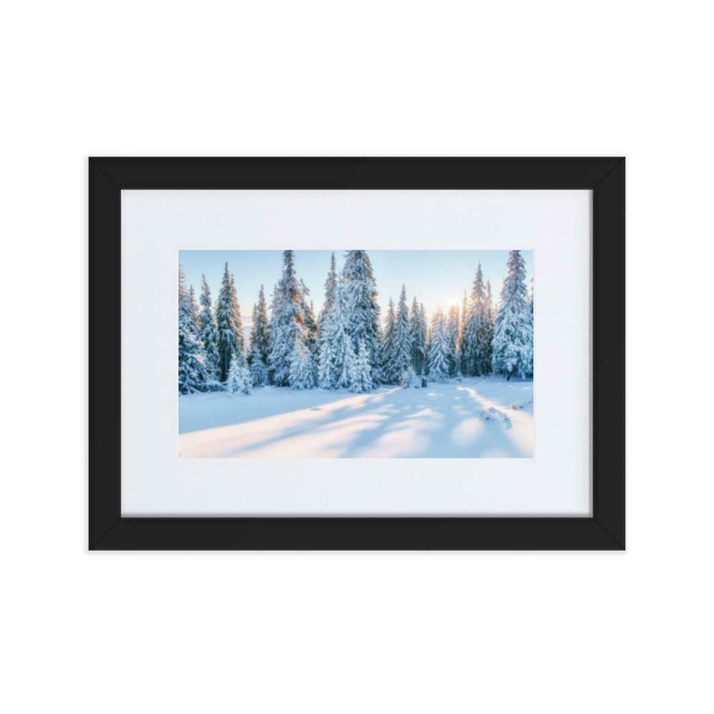 Snowy Road Matte Paper Framed Poster