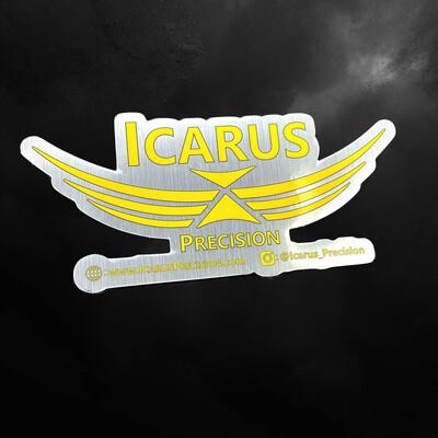 """Icarus Precision Laser Cut Brushed Aluminum Sticker  8"""" x 3.6"""""""
