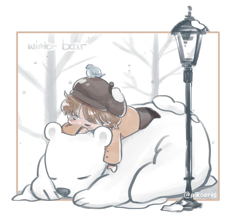 V Winter Bear Print
