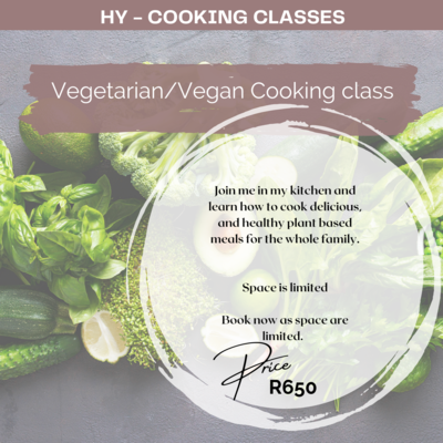 101 Vegetarian Cooking Course 22nd May 2021 10h30 - 13h00