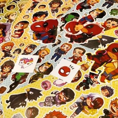 Fanart Stickers - Avengers / MHA / Haikyuu / SNK / Spideypool