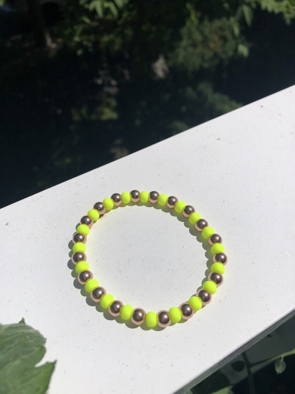Rose Gold/Yellow Pony Bead Bracelet