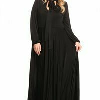 Comfortable Black Maxi Dress with Bow Tie