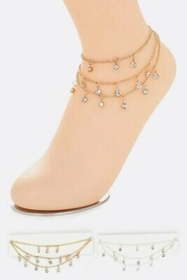 3 Layered Crystal Ankle Bracelet