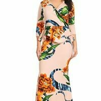 Lovely Peach Floral Maxi Dress