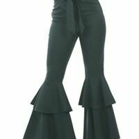 Two Tiered Bell Sleeve Pants with Tie Belt