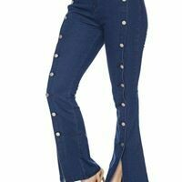 Denim Bell Jean with Button Seam