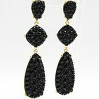 3 Tiered Crystal Earrings