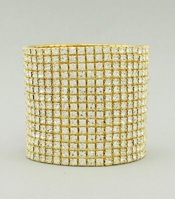 Gold Wide Band Rhinestone Bracelet