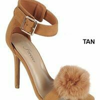 Tan Open Toe Sandal with Fur Ball