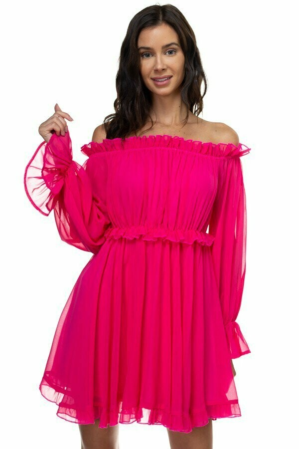 Gorgeous Babydoll  Chiffon Flared Dress with Ruffled Sleeves