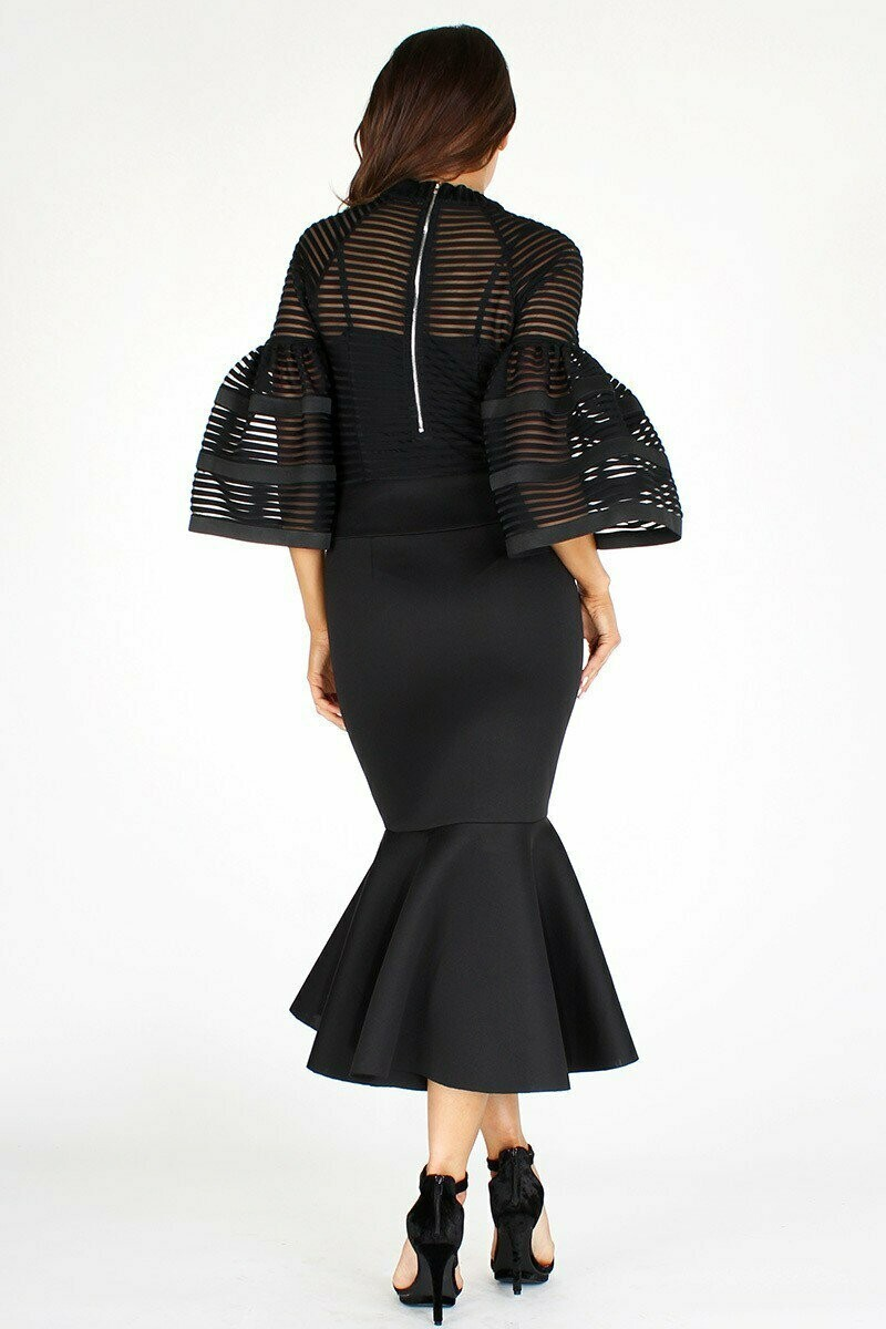 Beautiful Bell Sleeve Flared Bottom Dress