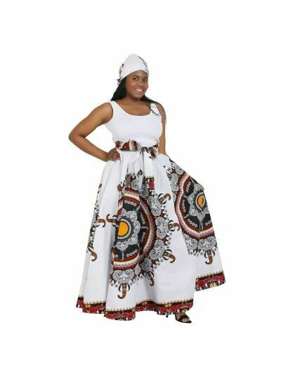 Printed Maxi African Skirt with Tie Belt