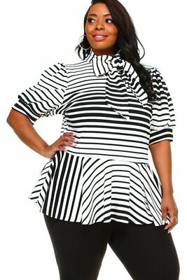 Striped Low Waste Blouse With Necktie