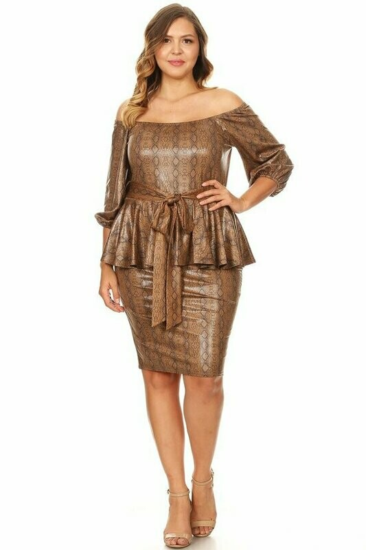 Fitted, snakeskin print midi dress with off shoulder 3/4 sleeves, peplum hem, and waist tie VINYL FOILED