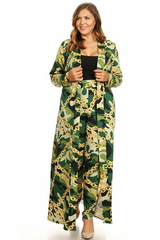 Camo printed, two-piece set featuring: long body cardigan in a loose fit with an open front and long sleeves. Bottoms- full length, high waisted pants in a slim fit with a waistband.