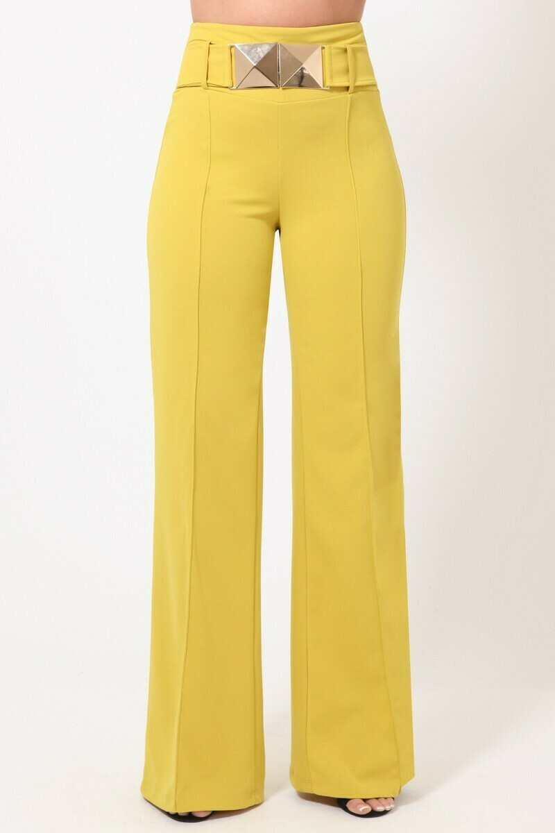 Wide Leg Pants with Buckle