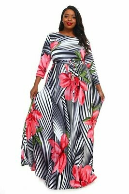 Striped Maxi Dress with Large Flowers