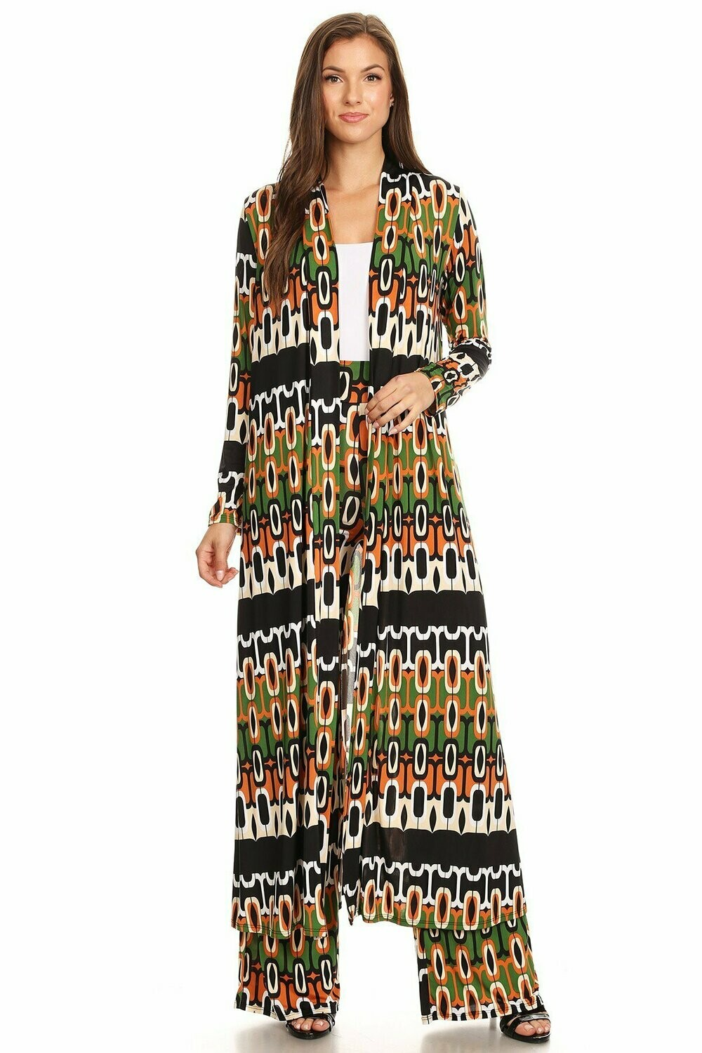 Multicolor abstract printed jacket and pants set: - Long body cardigan in a loose fit, with an open front. - High waisted pants in a relaxed fit, with wide legs, and elastic waist.TOP NOT INCLUDED