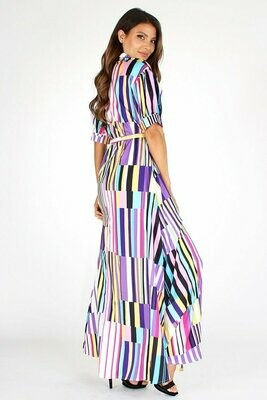 Multi-colored stripe, a-line, maxi dress in a loose fit with a rolled collar, button up closures, 3/4 length sleeves, front flap pockets, waist tie belt, and side pockets.