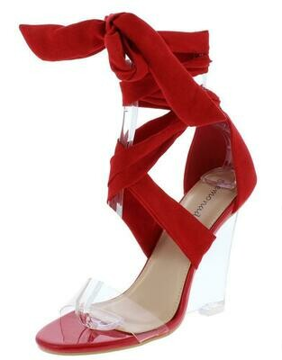 Mai Open Toe Cross Strap Ankle Wrap Lucite Wedge