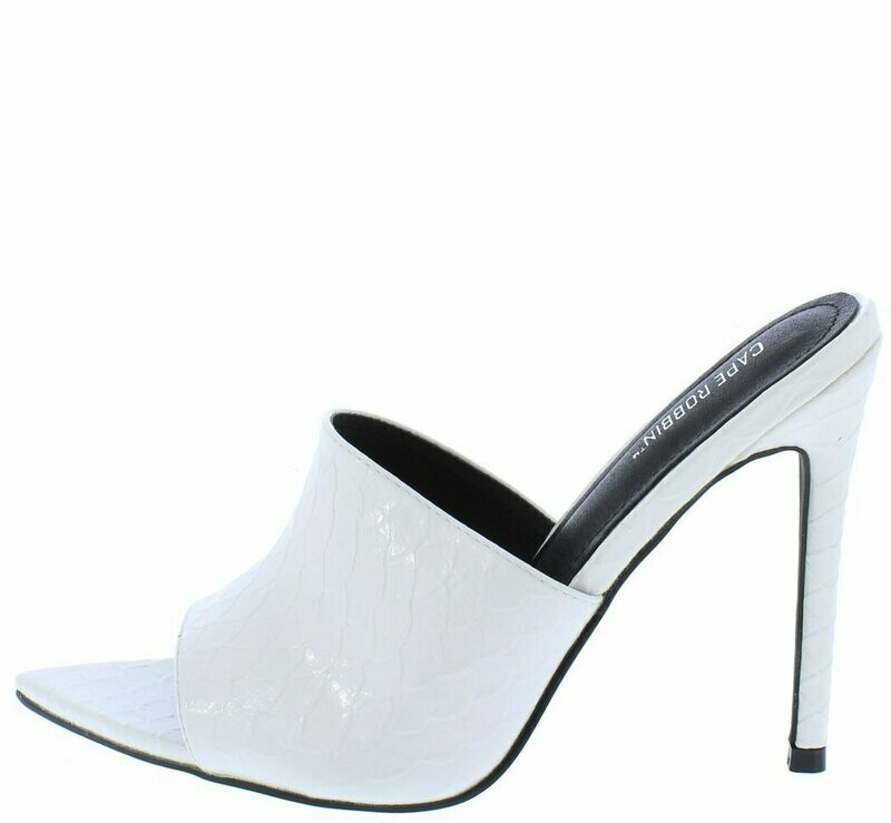 Crocodile Tears Red Snake Pointed Peep Toe Mule Heel