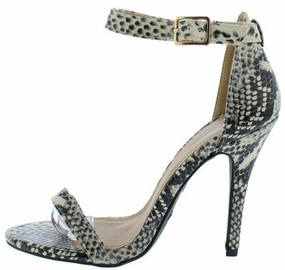 Girltalk11m Beige Snake Open Toe Ankle Strap Stiletto Heel
