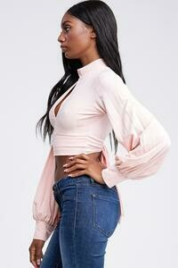 Pink Tieback Blouse with Backout