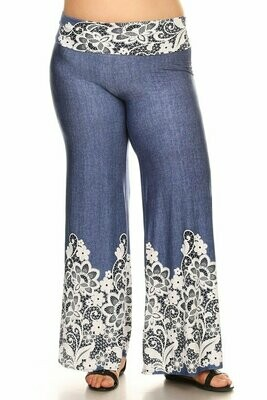 Denim Lace Bottom Palatte Pants