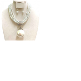 Pearl Jeweled Necklace with Large Pearl Ball