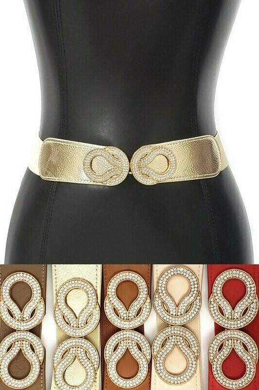 Red Gold Metal Rhinestone Hook Skinny Elastic Belt