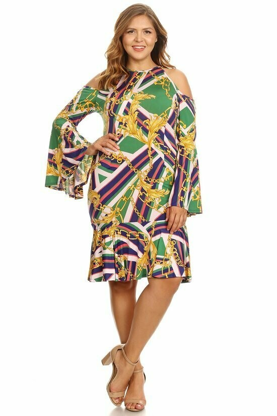 Radiant Multicolored Bel Sleeve Dress