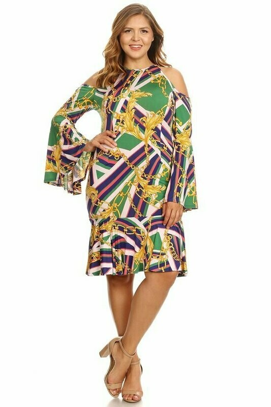 Radiant Multicolored Bel Sleeve Dress