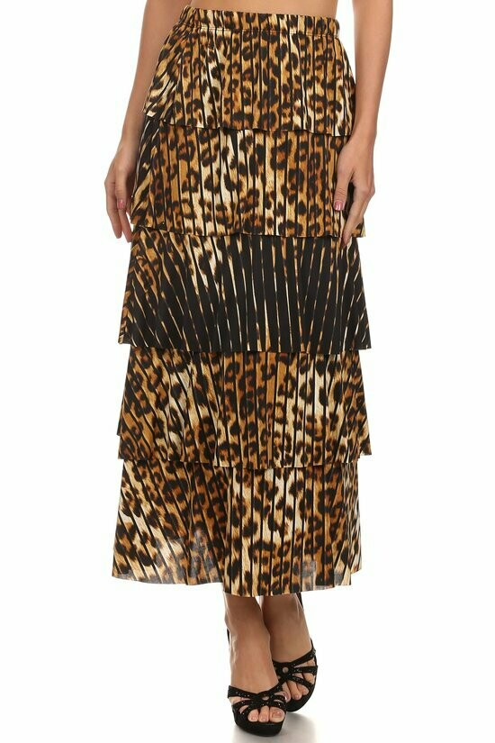 Elegant Leopard Print Maxi Skirt with Fringes