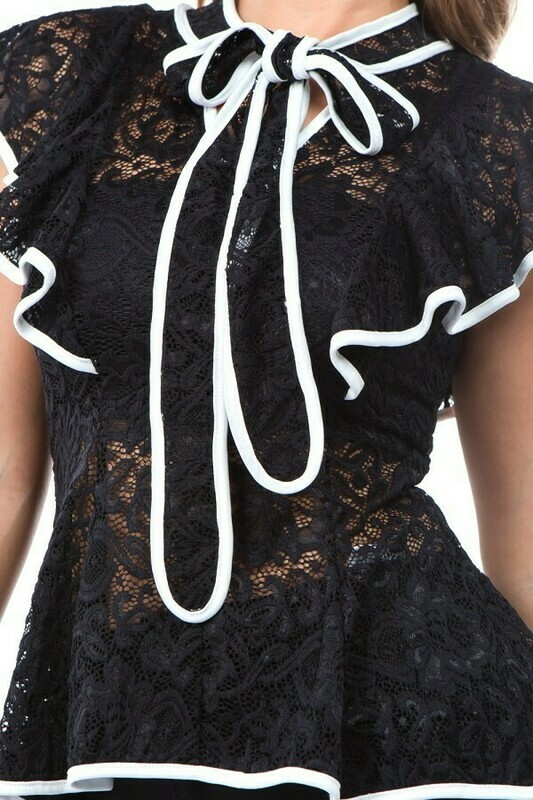 Adorable Lace Blouse with Necktie