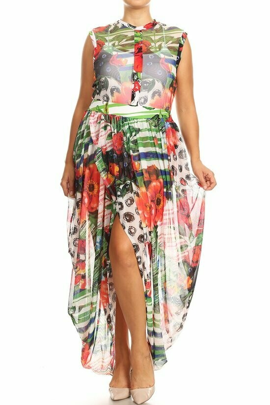 Beautiful Two Piece Abstract Skirt Set