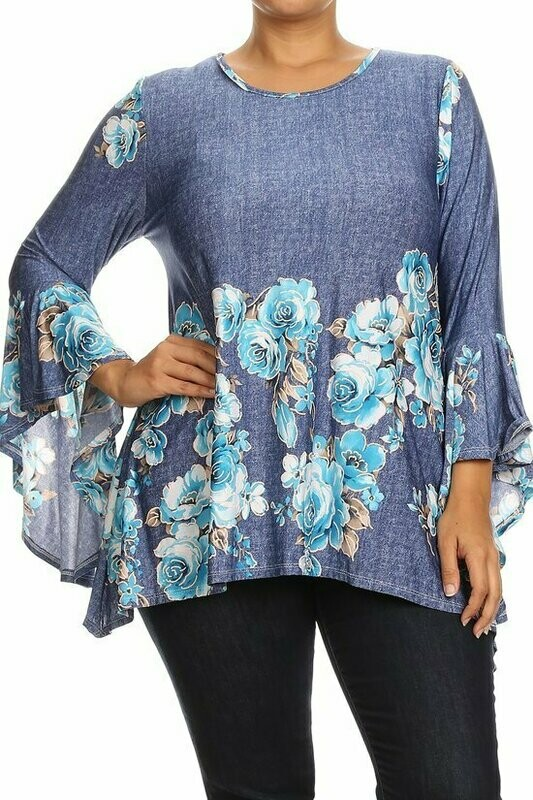 Elegant Demin Looking Bell Sleeve Floral Blouse
