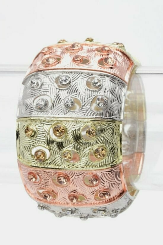 Wavy Textured Crystal Stretch Bracelet