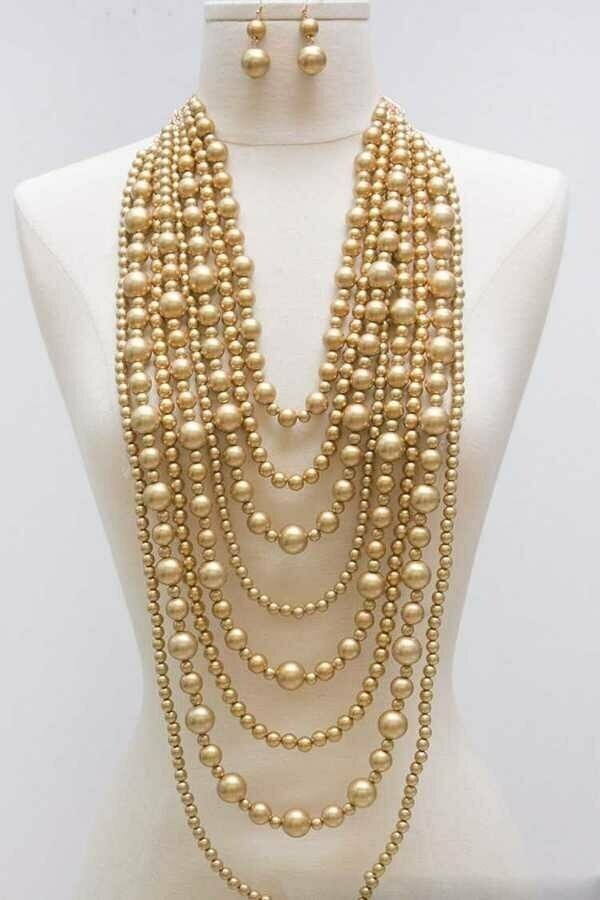 28 inch Mix Strand Pearls Statement Gold Necklace Set