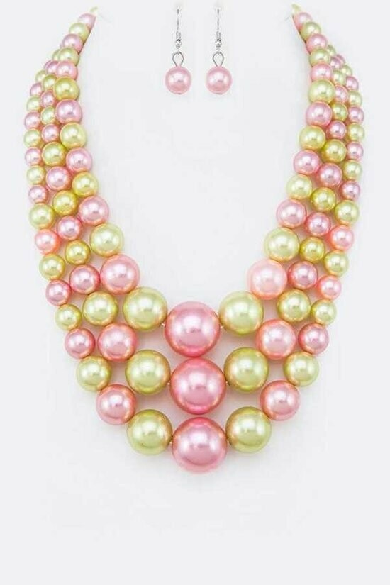 Beautiful Pink and Green Mix Pearl Layer Statement Necklace Set