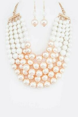 Beautiful  2 Tone Layered Pearls Strand Statement Necklace Set